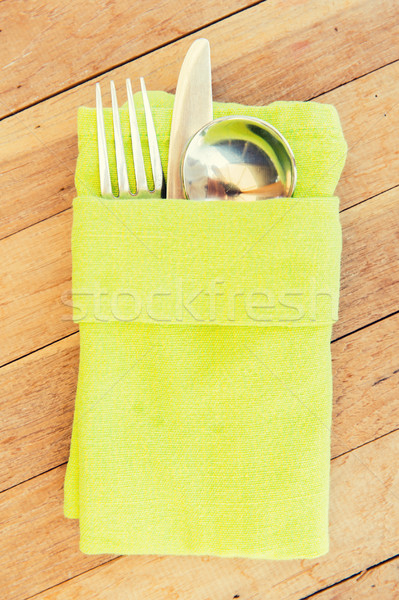 close up of cutlery set on table Stock photo © dolgachov