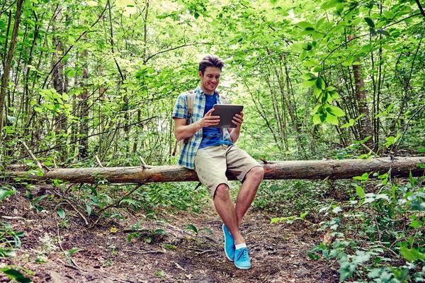Feliz hombre mochila bosques aventura Foto stock © dolgachov