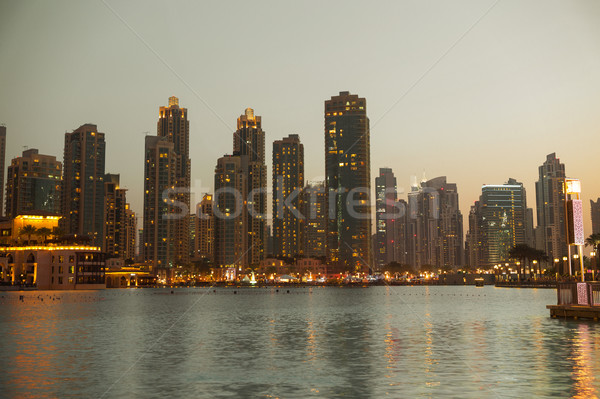 Dubai city business district and seafront at night Stock photo © dolgachov