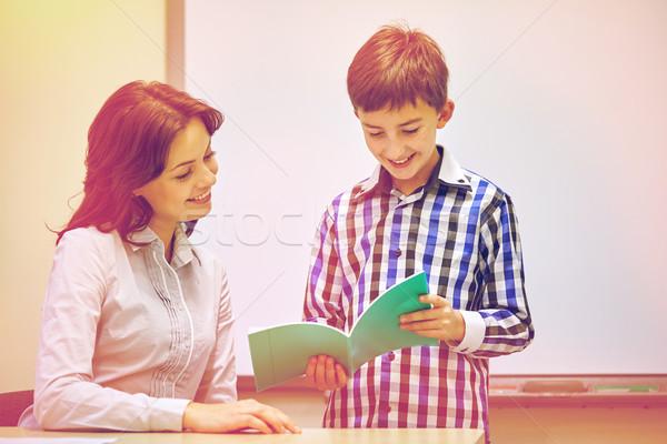 男子生徒 ノートブック 教師 教室 教育 小学校 ストックフォト © dolgachov