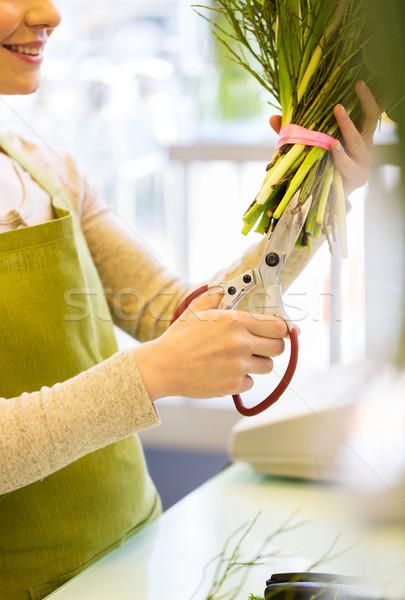 Mujer flores tijeras personas negocios Foto stock © dolgachov