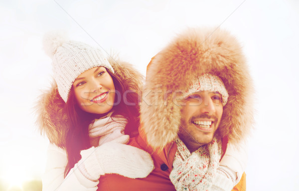 Boldog pár szórakozás tél emberek évszak Stock fotó © dolgachov
