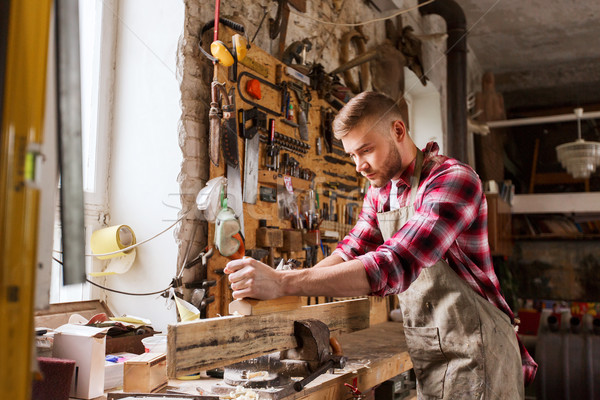 Timmerman werken vliegtuig hout workshop beroep Stockfoto © dolgachov