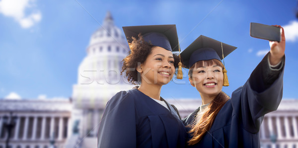 Foto stock: Estudantes · solteiros · educação · graduação