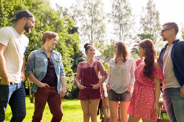 幸せ 十代の 友達 話し 夏 庭園 ストックフォト © dolgachov