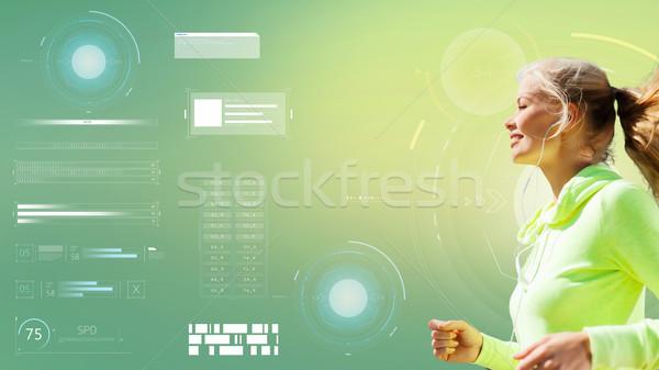 счастливым женщину работает зеленый фитнес Сток-фото © dolgachov