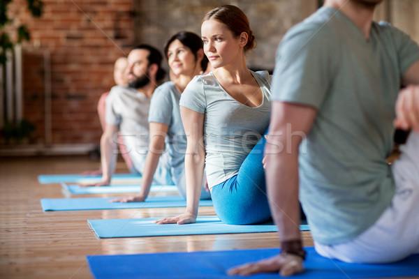 Csoportkép jóga stúdió fitnessz sport egészséges életmód Stock fotó © dolgachov