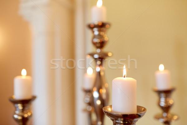 świece palenie kościoła religii płomień antyczne Zdjęcia stock © dolgachov