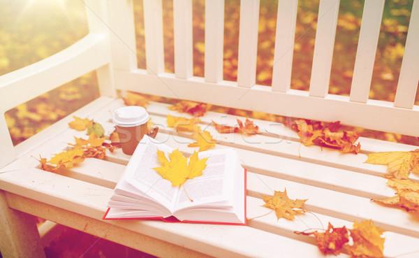 Open boek koffiekopje bank najaar park seizoen Stockfoto © dolgachov