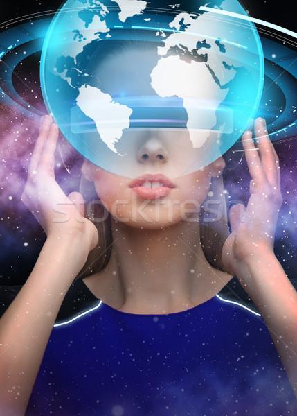 Mulher virtual realidade óculos 3d terra ciência Foto stock © dolgachov