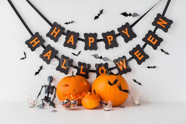 Abóboras halloween grinalda férias decoração Foto stock © dolgachov