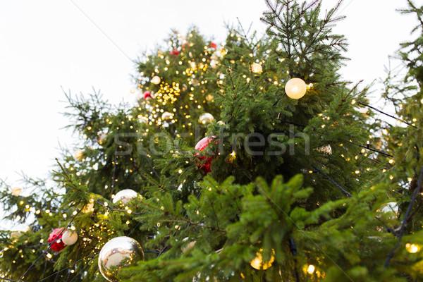 Sapin arbre de noël jouets extérieur vacances Photo stock © dolgachov