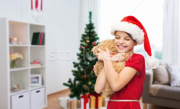 Niña feliz osito de peluche Navidad vacaciones personas feliz Foto stock © dolgachov