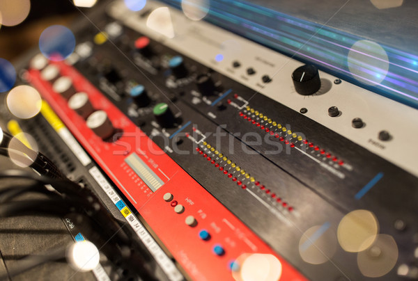close up of music mixing console Stock photo © dolgachov