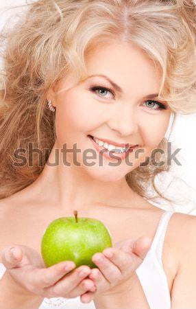 Stok fotoğraf: Genç · güzel · bir · kadın · yeşil · elma · resim · kız