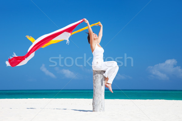 happy woman on the beach Stock photo © dolgachov