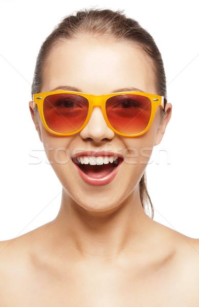 happy screaming teenage girl in shades Stock photo © dolgachov