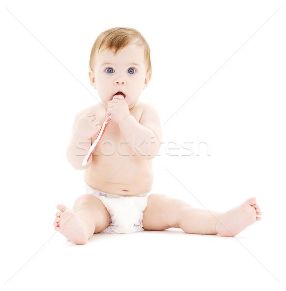 ребенка мальчика подгузник зубная щетка фотография красный Сток-фото © dolgachov