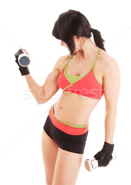 Muscular fitness instructor pesas blanco feliz Foto stock © dolgachov
