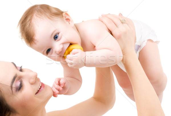 Bebê menino mãe mãos quadro feliz Foto stock © dolgachov