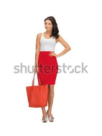 Donna abito bag foto felice moda Foto d'archivio © dolgachov