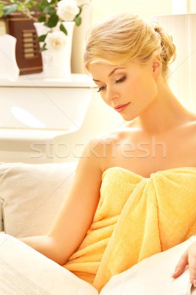 ストックフォト: 美人 · スパ · サロン · 図書 · 画像 · 女性