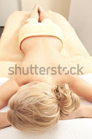 Sarışın çıplak yatak yüz saç Stok fotoğraf © dolgachov