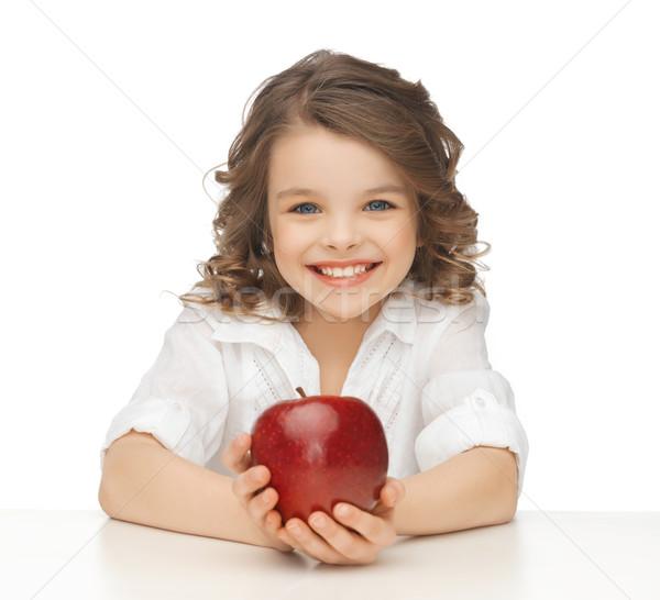 Nina manzana roja Foto hermosa niña ninos manzana Foto stock © dolgachov