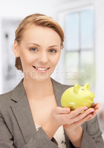 Vrouw spaarvarken foto business financieren varken Stockfoto © dolgachov
