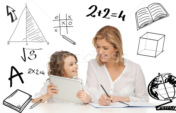 girl and mother doing homework with tablet pc Stock photo © dolgachov