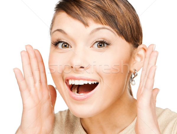 excited face of woman Stock photo © dolgachov