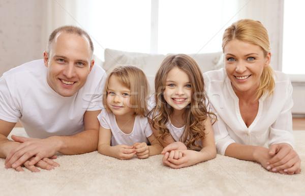 両親 2 女の子 階 ホーム 家族 ストックフォト © dolgachov