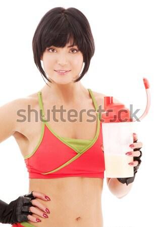 笑みを浮かべて スポーティー 女性 タンパク質 ぶれ ボトル ストックフォト © dolgachov