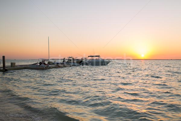 boats moored to pier at sundown Stock photo © dolgachov