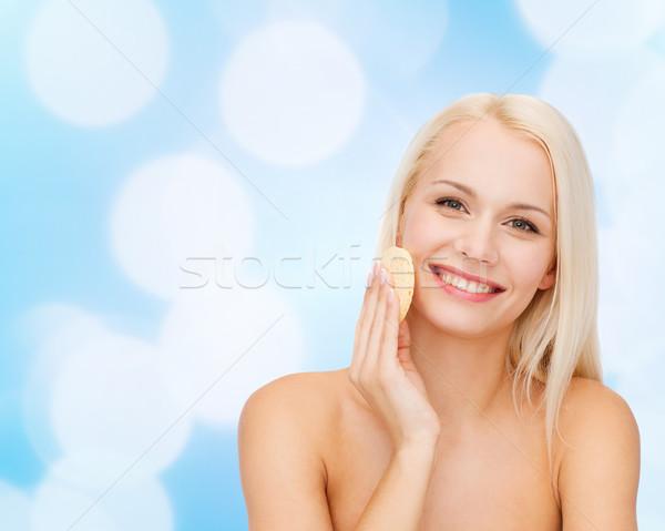 Foto stock: Bela · mulher · esponja · saúde · menina · feliz