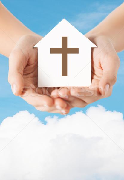 Mani carta casa cross religione Foto d'archivio © dolgachov