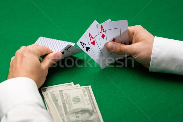Stockfoto: Poker · speler · kaarten · geld · casino · gokken