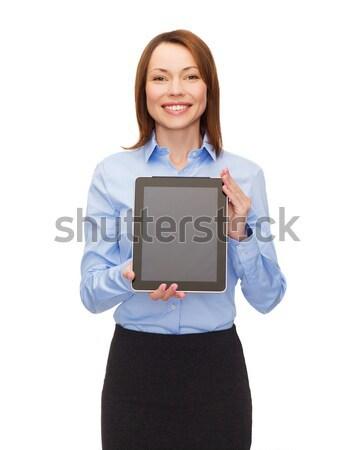 улыбающаяся женщина экране компьютера бизнеса интернет реклама Сток-фото © dolgachov