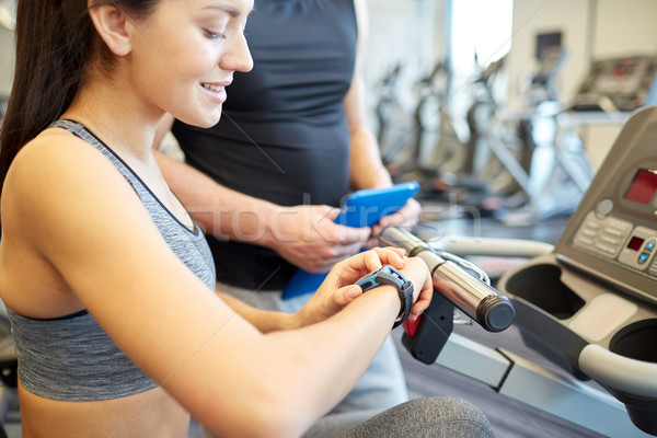 Stockfoto: Vrouw · horloge · gymnasium · sport · fitness