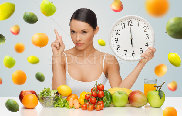 woman with healthy food and clock warning Stock photo © dolgachov