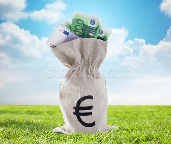 close up of euro paper money in bag outdoors Stock photo © dolgachov