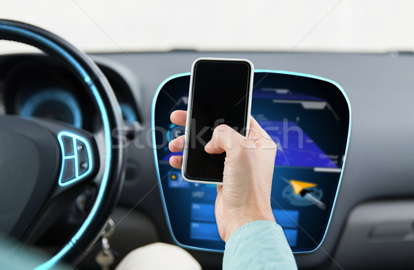 close up of male hand with smartphone driving car Stock photo © dolgachov