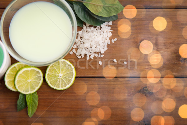 Stock photo: close up of citrus body lotion in bowl on wood