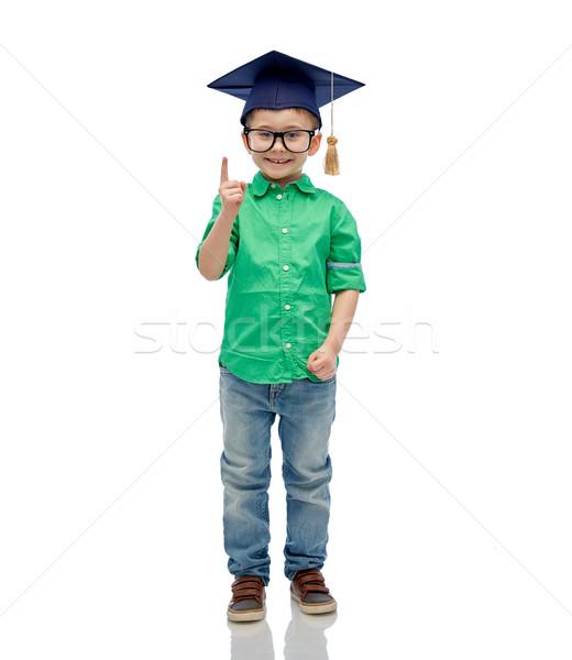 Vrijgezel hoed bril jeugd school Stockfoto © dolgachov