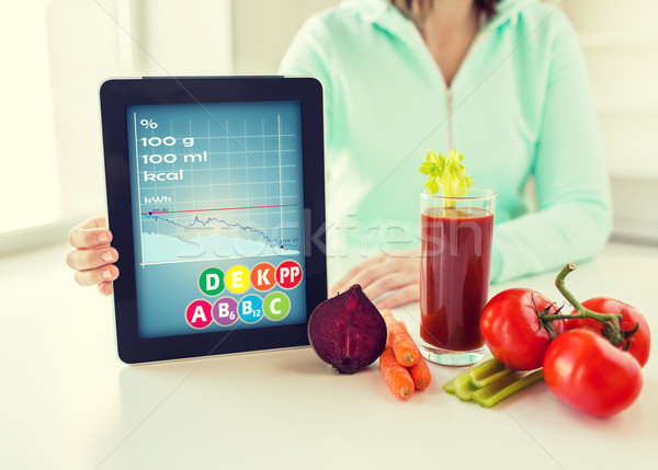 close up of woman with tablet pc and vegetables Stock photo © dolgachov
