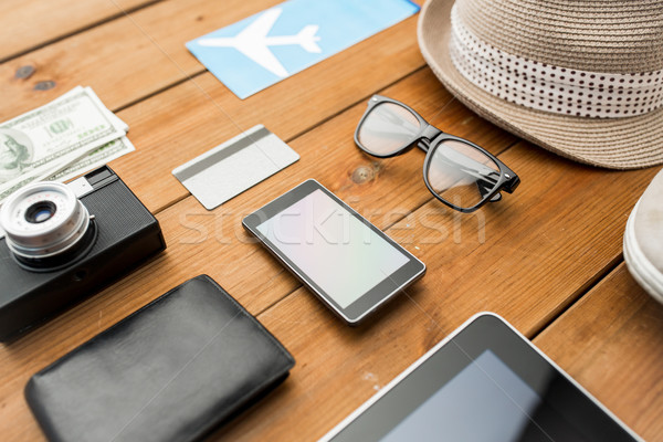 Stock photo: close up of gadgets and traveler personal stuff