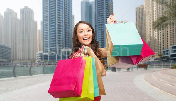 Mutlu kadın Dubai şehir insanlar Stok fotoğraf © dolgachov