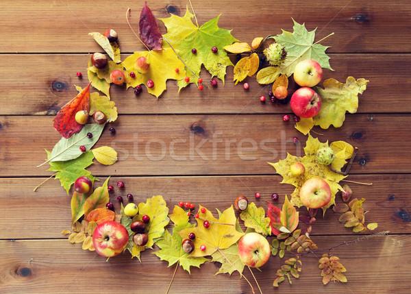 Stockfoto: Ingesteld · vruchten · bessen · hout · natuur