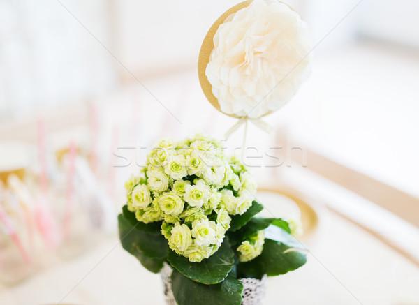 close up of festive flower decoration Stock photo © dolgachov