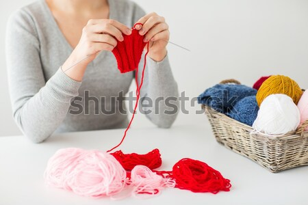 woman hands knitting with needles and yarn Stock photo © dolgachov